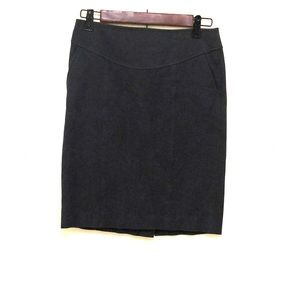 Navy stretch pencil skirt with pockets